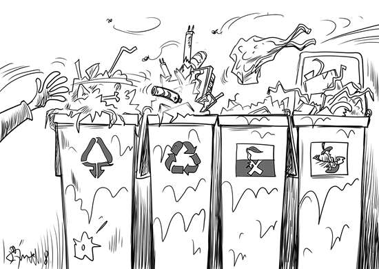 部署推动生活垃圾分类的《生活垃圾分类制度实施方案》已出台一年。记者发现,不同地方垃圾分类实施情况差异比较大,有的小区分类清楚,有的小区垃圾桶都是清一色,并没有标注分类,垃圾回收车回收时对这些垃圾也是一锅烩。(中国新闻网4月8日) 漫画:徐简